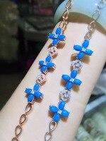 [MeiBaPJ Natural Turquoise Gemstone Trendy Flower Bracelet for Women Real 925 Sterling Silver Charm Bangle Fine Jewelry