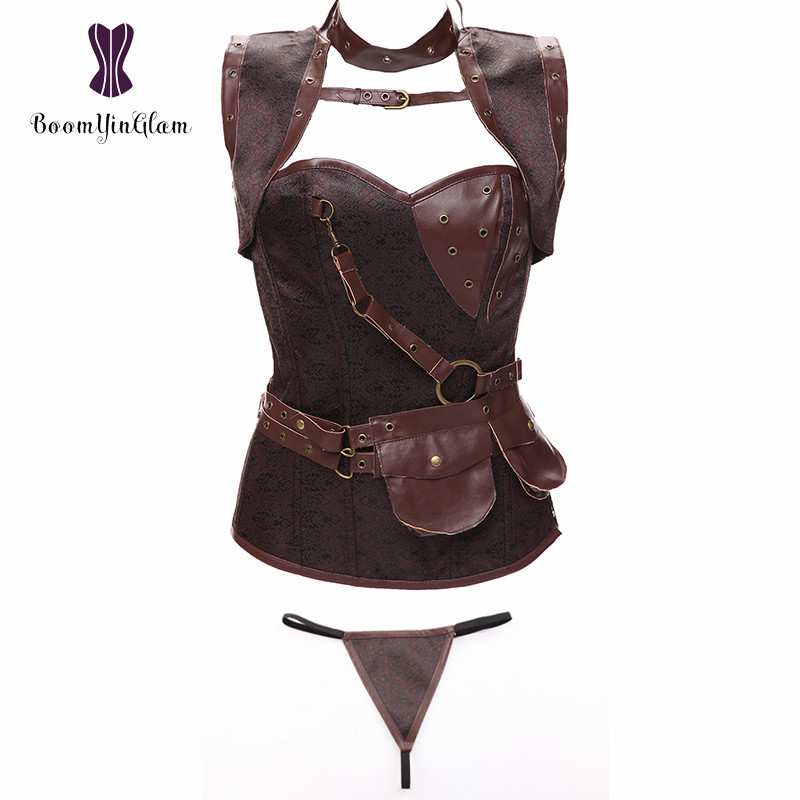 Collar And Pocket Decorated Women's Steampunk Clothing Spiral Steel Boned Vintage Retro   Bustier     Corset   Tops With Jacket 926#