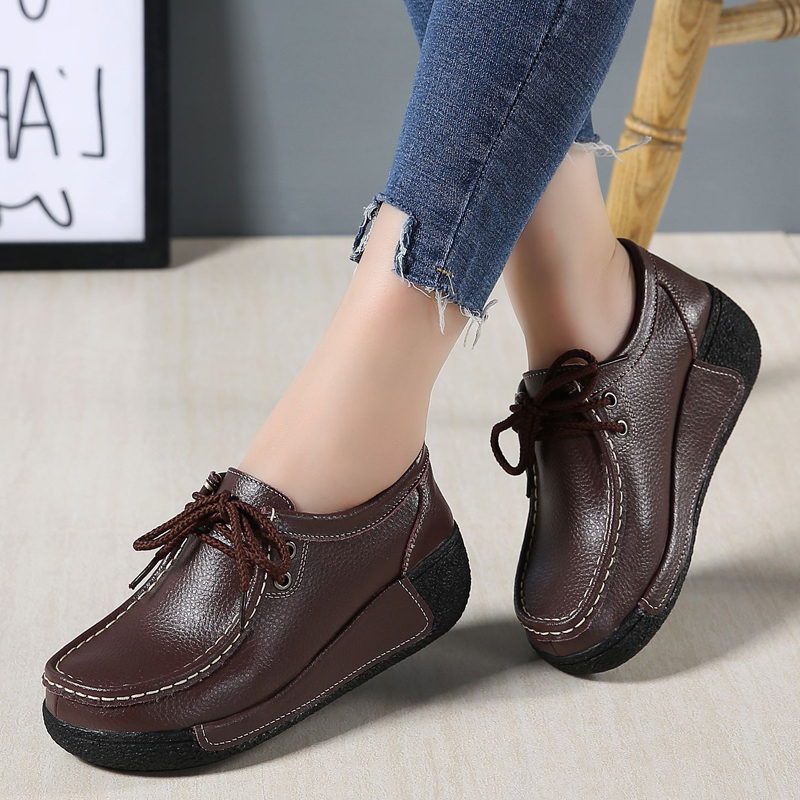 Image 4 - JZZDDOWN Women shoes genuine leather with fur shoes woman platform Heel High 5cm women sneakers platform Loafers Ladies shoesWomens Flats   -