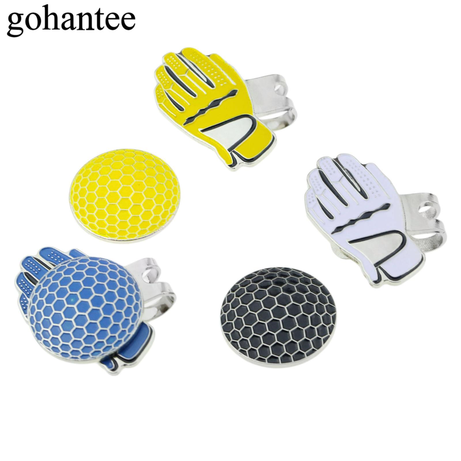gohantee Outdoor Sports Gloves Shape Golf Hat Visor Clips With Magnetic Golf Balls Mark Pocket Size Alloy Cap/ Hat Decoration