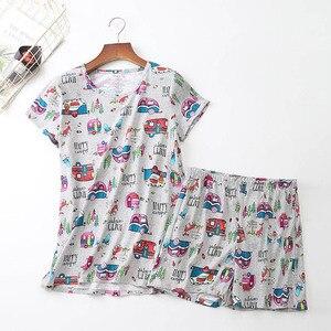 Image 5 - 2019 夏の女性のパジャマセット漫画の動物半袖 + ショーツ 2 個パジャマ韓国スタイルの快適ソフトラウンドネックホームウェア