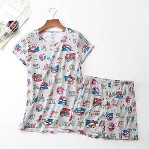 Image 5 - 2019 Summer Women Pajamas Set Cartoon Animal Short Sleeve+Shorts 2Pcs Sleepwear Korean Style Comfort Soft Round Neck Homewear