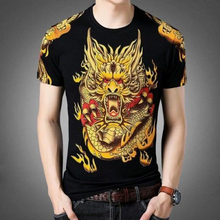 Chinese style Print Dragon T Shirt Mens 3D O neck Solid color Black White Short sleeve Tess Cotton Summer Tops