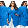Big Plus Size Women Clothing Large Size Split Top Shirt Sexy Fold Tunic blue T shirt V neck Oversize 2016 New Summer Big yards