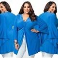 Big Plus Size Women Clothing Large Size Split Top Shirt Sexy Fold Tunic blue T shirt V neck Oversize 2016 New Summer Big yards