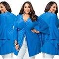 Grande Plus Size Mulheres Roupas Tamanho Grande Divisão Camisa Top Sexy Fold túnica camisa azul T V pescoço Oversize 2016 Novo Verão Grandes estaleiros