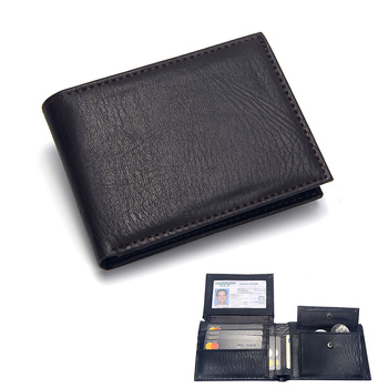 Luxury Men's Wallet Leather Solid Slim Wallets Men Pu Leather Bifold Short Credit Card Holders Coin Purses Business Purse Male 11