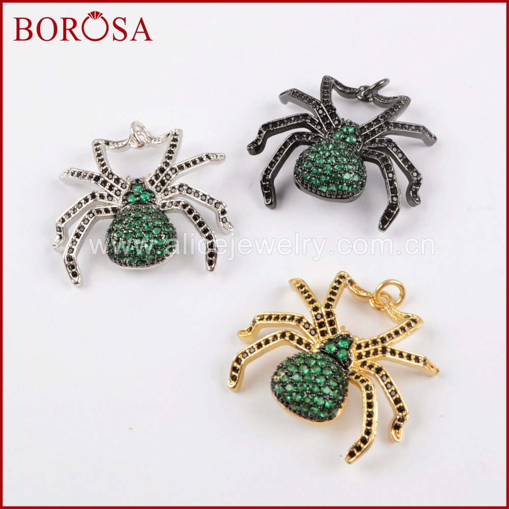 BOROSA 5PCS New Spider Pendant Green Insect Pest Bugs Pendant Bead, Micro Pave Cubic Zircon CZ Pendant for Women Jewelry WX832