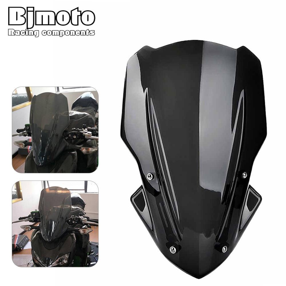 Bjmoto For Kawasaki Z900 2017 2018 Motorcycle Accessories Windscreen Windshield with bracket Naked Sport Z 900