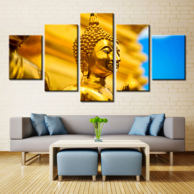 Golden Buddha Statue Posters and Prints Canvas Painting for Dining ...
