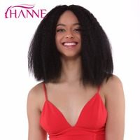 HANNE Kinky Straight Hair Weave Synthetic Medium Wigs for Black Women African American Natural Black Lace Front Wig Afro