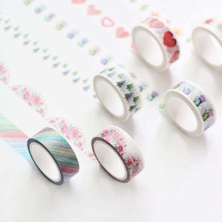 1.5cm*7M Watercolor Multipurpose Decorative Washi Tape DIY Scrapbooking Masking Craft Tape School Office Supply warm wedding wedding korean pastoral cute princess girl bedroom flower table lamp european small wedding room bedside eye lamp