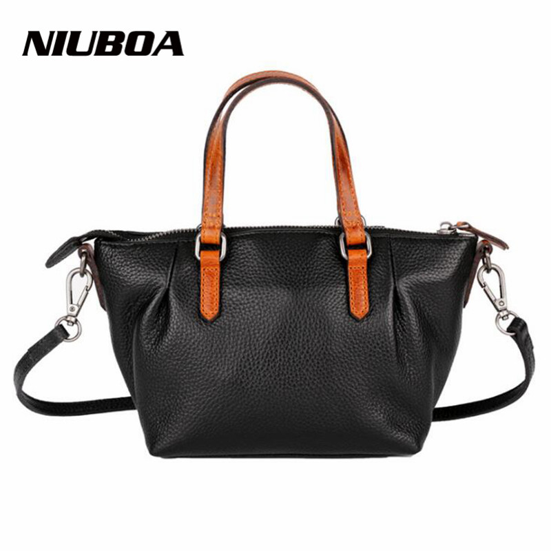NIUBOA 100% Genuine Leather Women Shoulder Bag Leather Vintage Brand Handbag Euro Women Hobos Bag Coffee Elegant Shoulder Bags niuboa bag female women s 100