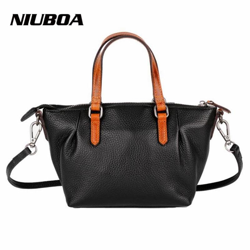 NIUBOA 100% Genuine Leather Women Shoulder Bag Leather Vintage Brand Handbag Euro Women Hobos Bag Coffee Elegant Shoulder Bags niyobo genuine leather women shoulder bag 100