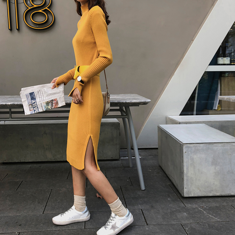 Arrivé Apricot Taille Col Nouveau Femmes Roulé Longues De 2018 Robes yellow Pull Casual Ceintures Avec Chandail Hiver Des Haute Automne black Épais Robe C56Rwpq7