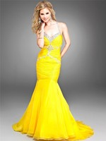 Prom Dresses Long Yellow Pleated Mermaid With Crystal Spaghetti Straps Crossed Back Vestidos De Festa Party