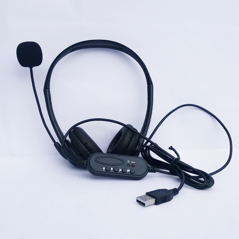 USB Wired Headphone Headset Microphone for Laptop PC Computer Chat Game/Call Center mounted earphone