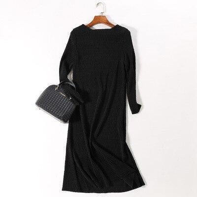 Noir New Fold Stock À Gratuite Rond Longues Robe Pur bourgogne Col Manches En Livraison L'organe Couleur 6qpTwgqEt