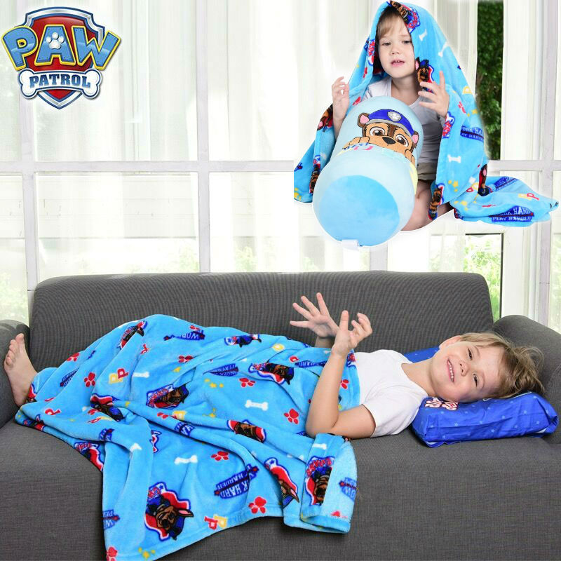 2019 Genuine Paw Patrol Chase 130*100cm Candy Air Conditioning Multi-function Plush Quilt Kids Kindergarten Blanket Kids Toy