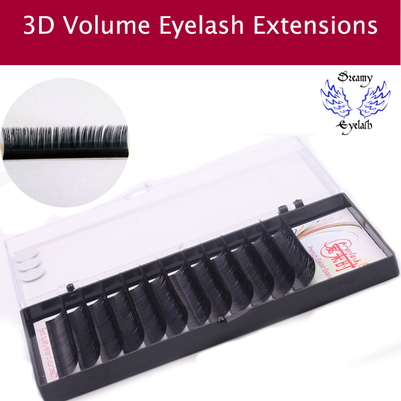12Lines/Tray B/C/D Curl Eyelash Extension 3D Korea Silk Volume Eyelashes Makeup Natural Lashes Artificial False Eyelashes free shipping new product 5 tray 4 colors individual lash extension silk colorful eyelash extension fashion false eyelashes