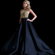 Sexy Black Prom Dresses Halter With Gold Beaded Crystal Party Dress For Weddings Open Back A Ling Long Evening Gown 2016