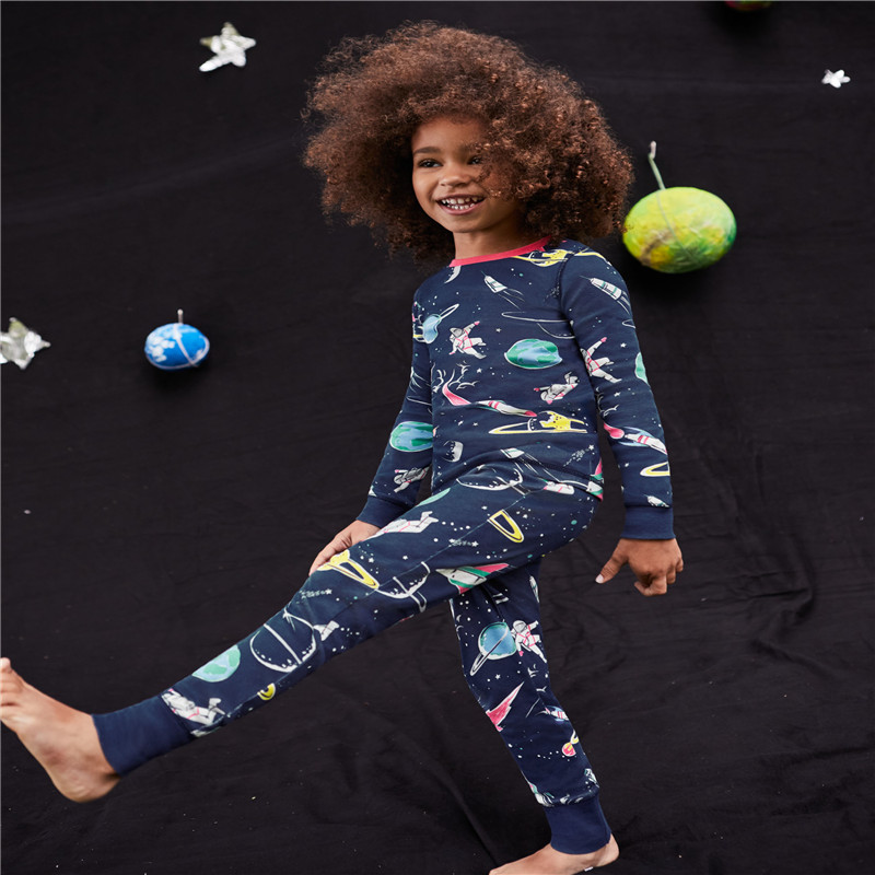 Children's boys clothing sets autumn winter cotton space printed long sleeve baby boy suits fashion new home wear 2 pcs boys set