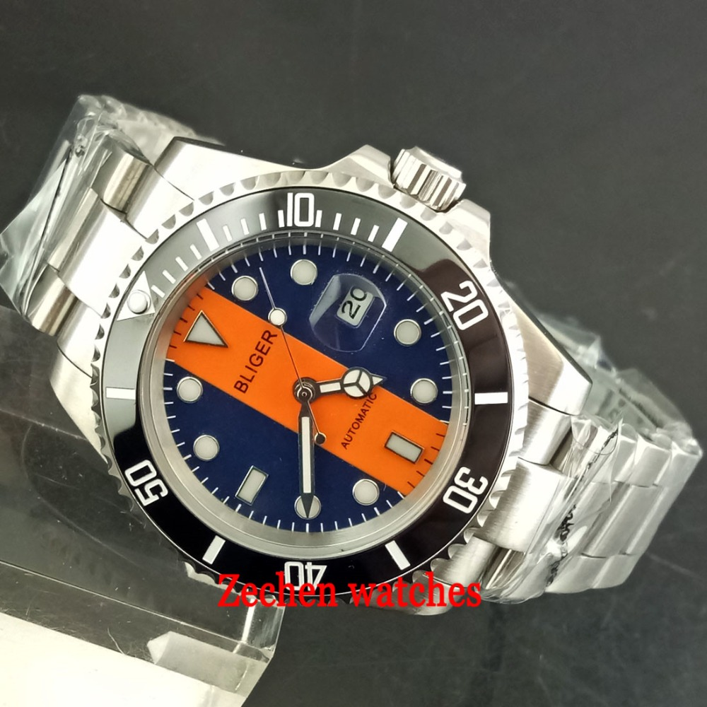 BLIGER 40mm mens watch Luminous Sapphire Automatic Steel Case Mens Watch Wristwatch Fabric strap цена и фото