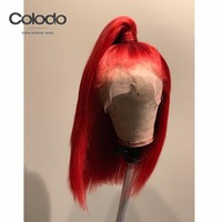 COLODO Red Bob Lace Front Wigs Short Human Hair Wigs Pre Plucked with Baby Hair Remy Glueless Full Lace Wigs for Black Women