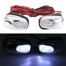 2 قطعة 12 V LED زجاج سيارة رذاذ فوهة ممسحة غسالة عيون الديكور اللون الأبيض أضواء ل السيارات الشاحنات