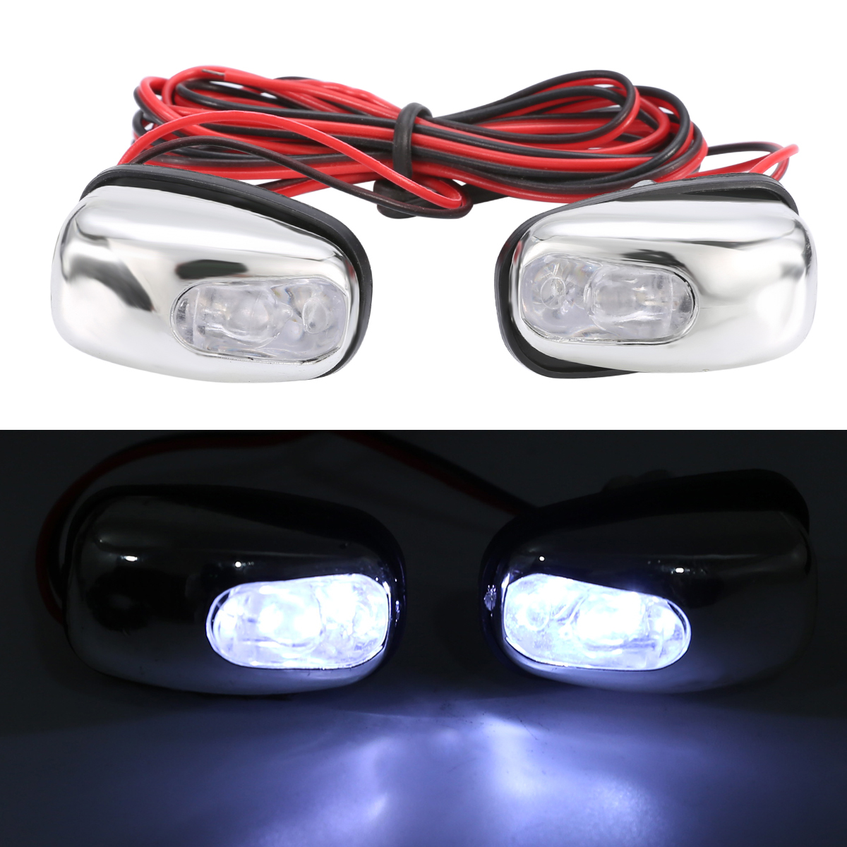 2pcs 12V LED Car Windshield Spray Nozzle Wiper Washer Eyes Decoration White Color Lights For Auto Trucks-in Decorative Lamp from Automobiles & Motorcycles