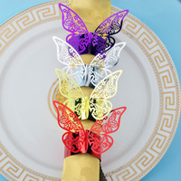 50pcs/lot Butterfly Design Pearlescent Paper Napkin Rings For Wedding Party Serviette Table Decoration Porta Guardanapo