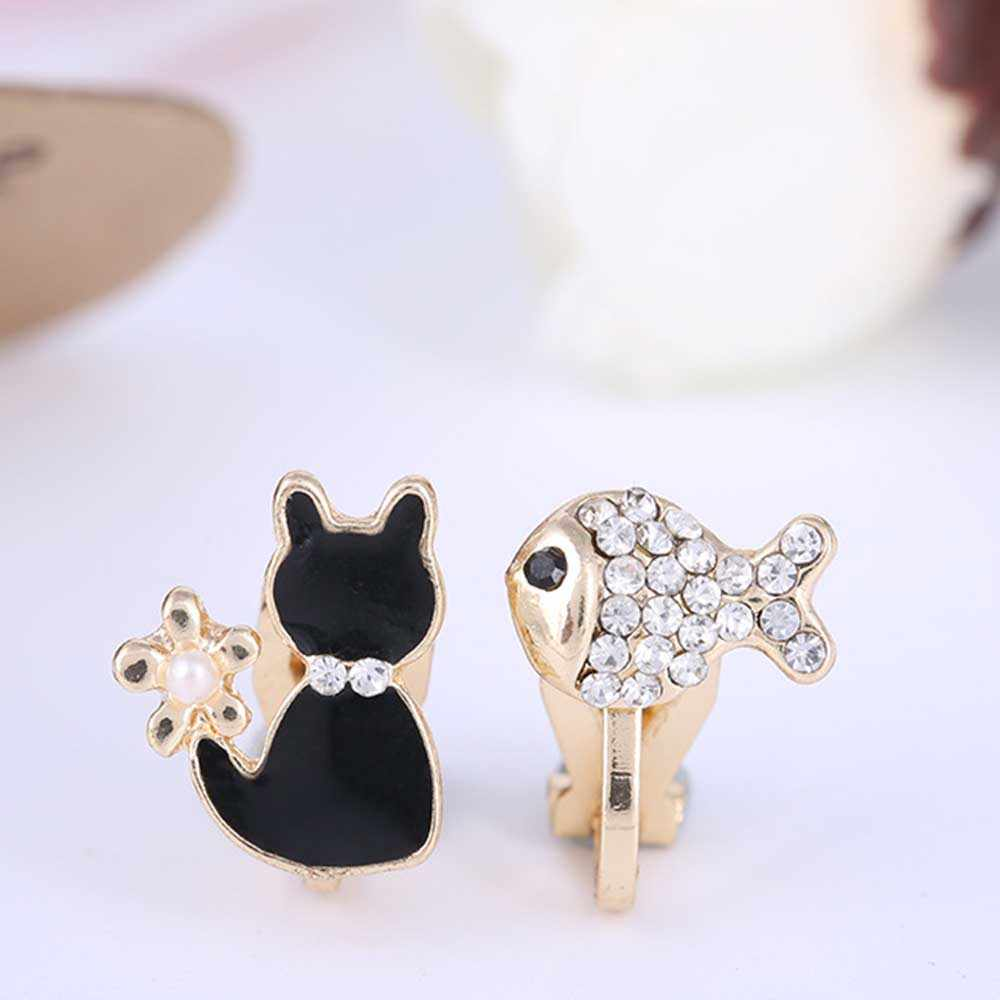 JIOFREE sweet Cat Fish Shape Enamel Clip on Earrings Without Piercing for Girls Party Cute Animal No Hole Ear Clip jewelry