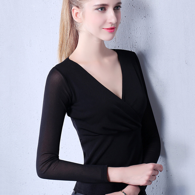 e7f65ead3ce Basic Sexy T-Shirt vrouwen Lente Zomer Lange Mouwen Tops Dames Gaas T-Shirt