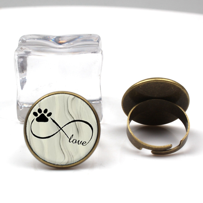 2019 new charm cute dog cat paw print glass ring female fashion charm ring DIY convex round jewelry wedding party gift souvenir in Rings from Jewelry Accessories