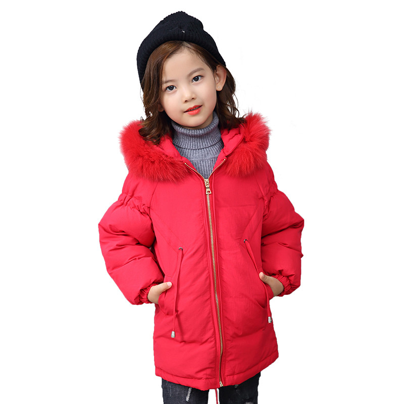 2018 Girls Winter Warm Coat Child Christmas Cotton-padded Fur Collar Down Hooded Outerwear Girl Winter Jacket Kid School Clothes women winter coat jacket 2017 hooded fur collar plus size warm down cotton coat thicke solid color cotton outerwear parka wa892