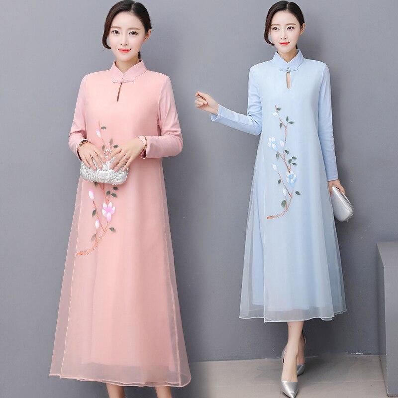 2018 verano rojo chino mujeres vestido tradicional Satén de seda ...
