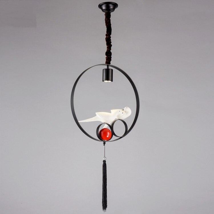 Китайские светодиодные подвесные лампы с птицей  персонализированные ретро лампы в американском стиле  железные подвесные светильники для... title=