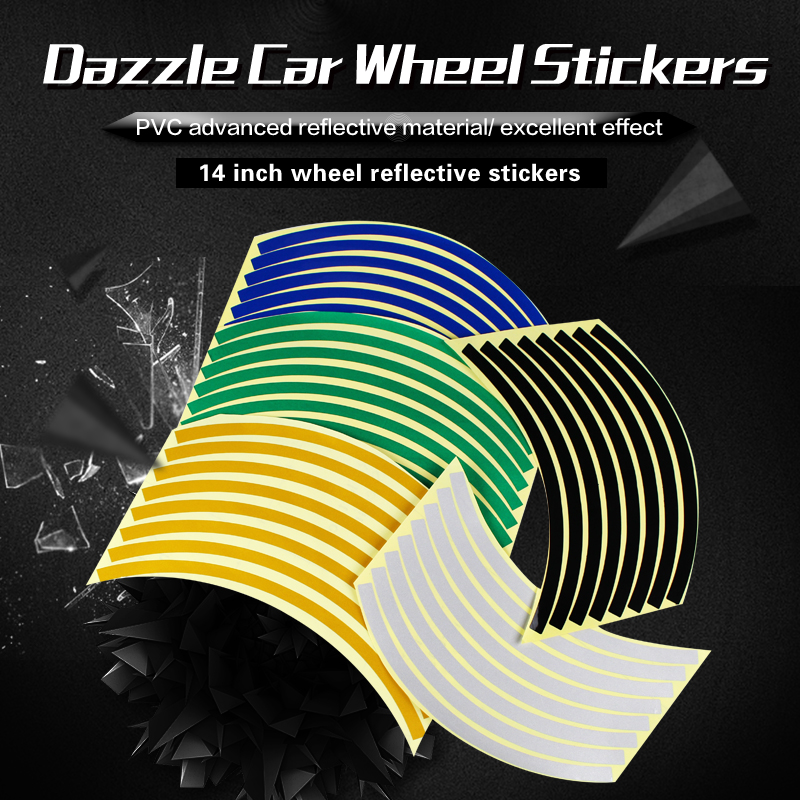 Good quality 16 strips wheel tire rim stickers motorcycle scooter 14 inches reflective decorative 8 colors PVC material