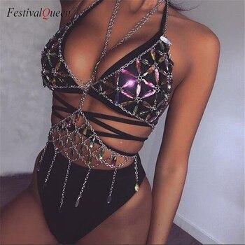 FestivalQueen Bling métal gland détails réservoir hauts Festival Rave vêtements été Sexy dos nu Rave corps chaîne plage hauts 2018 1