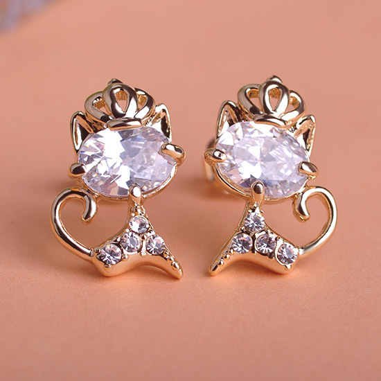 Kawaii Cute Cat Cz Diamond Earrings For Wedding Bridal Jewelry Very Cool Gold Brincos Grandes Joias Ouro 18k Aretes Women Bijoux In Stud From