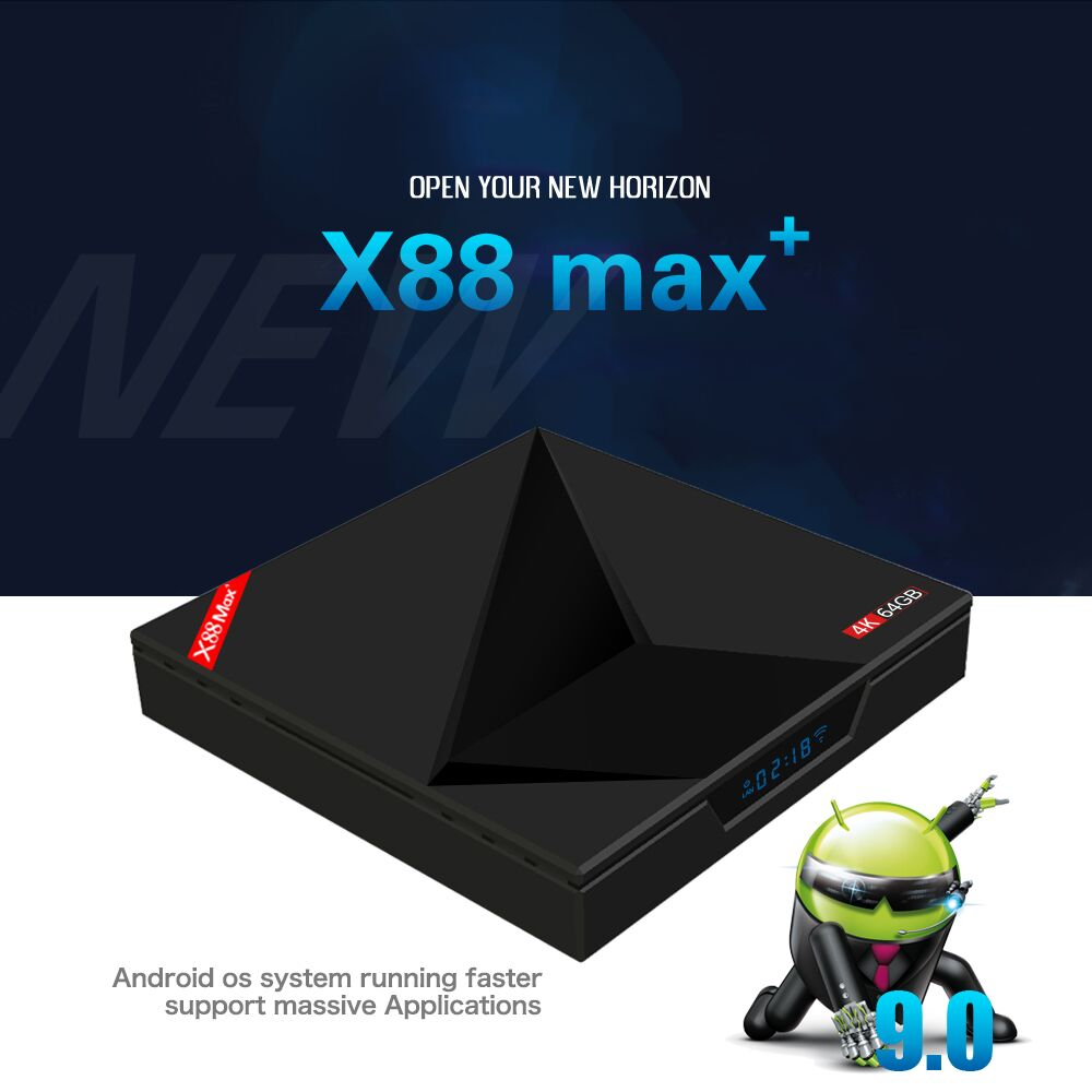 Smart TV box Android 9.0 4 GB 64 GB 2.4G/5G Wifi RK3328 penta-core BT V4.0 4 K HD ajouter type-c USB X88 Max Youtube Google Player Box