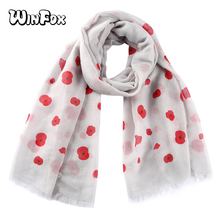 Winfox Female White Pink Red Floral Dot Print Scarf Shawl For Women  Soft Long Scarves and Wraps Hijab