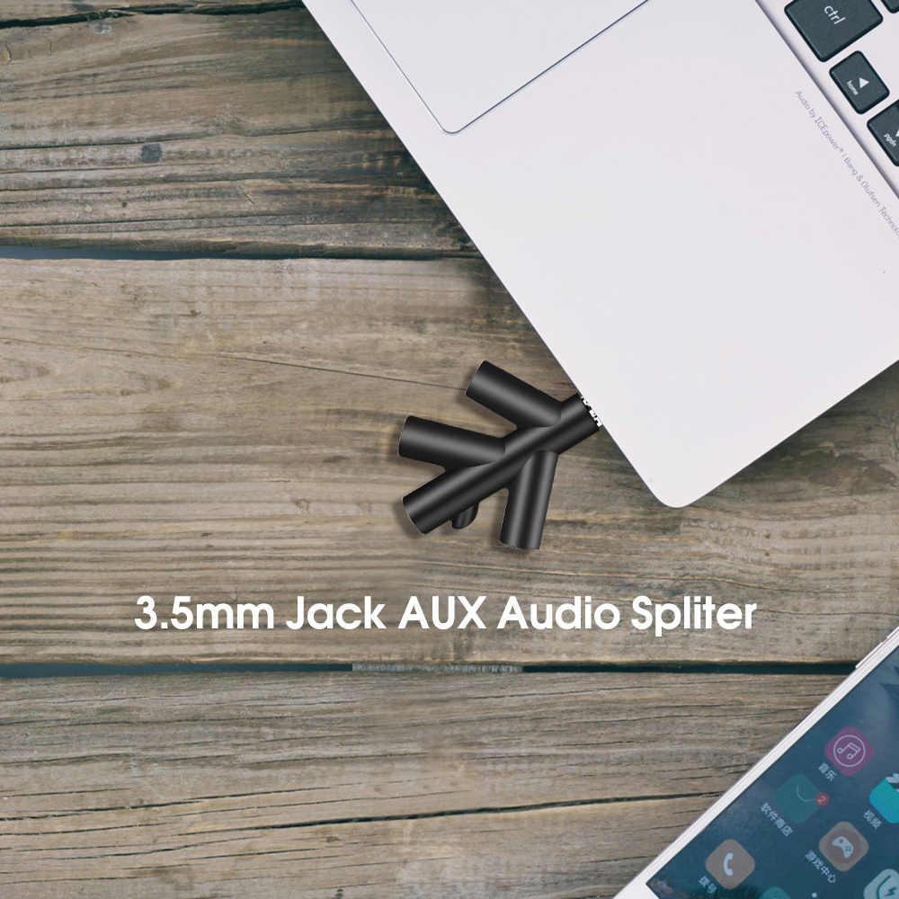 KEBIDU zestaw słuchawkowy kabel splittera 3.5mm Jack 1 męski do 4 linii żeńskiej słuchawka douszna słuchawki przejściówka do tabletu telefonu MP3 MP4
