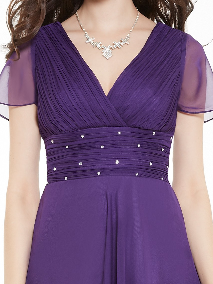 Short Sleeve V Neck Ruched Bust Chiffon Party Dress 15