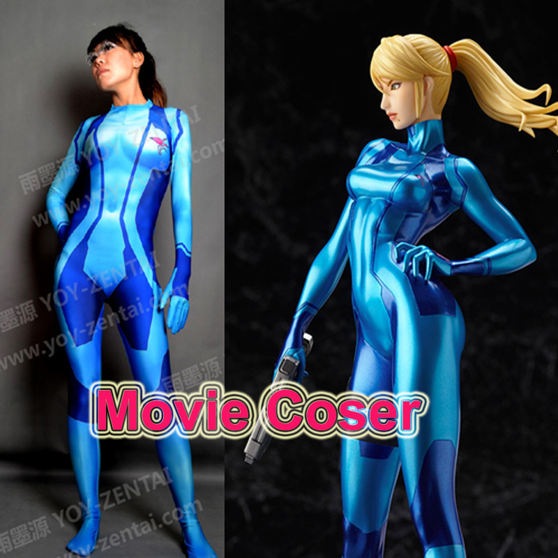 high quality tailored metroid cosplay costume spandex suit samus costume zentai suit in game. Black Bedroom Furniture Sets. Home Design Ideas