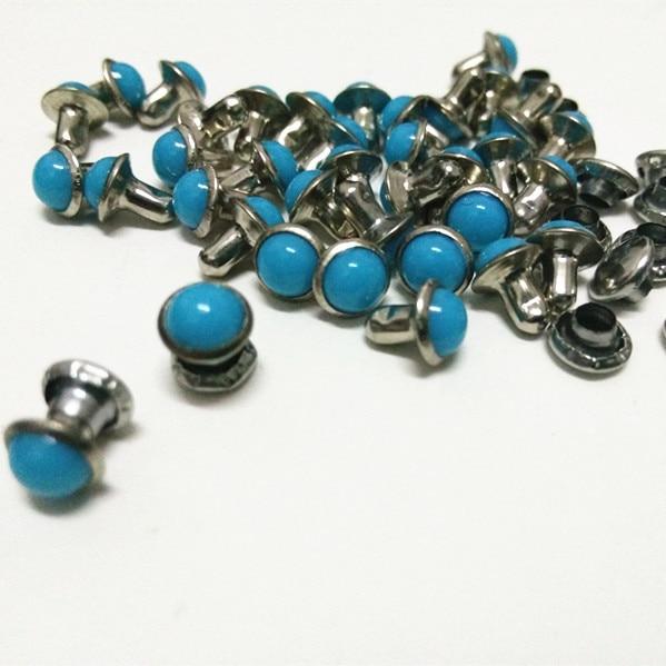 DIY100PCS 6mm Zusatz-blaue Türkis-Sprung-Niet-lederne Fertigkeit-Punkbolzen, die frei versenden