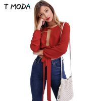 2017 Sexy Hollow Out Elegant Halter Crop Tops Midriff Red Shirt Women Casual Summer V Neck