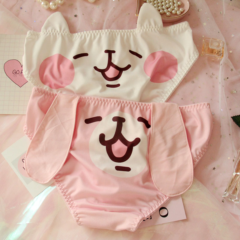 Women's Underwear Briefs Knickers Pink Panties.cute Lolita Cotton Ladies Cartoon Kawaii
