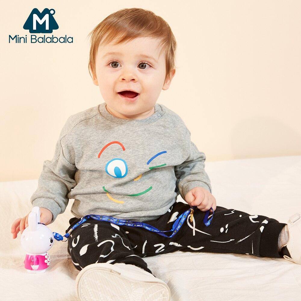 Мини Balabala Baby 2-Piece Graphic Pull-over & Printed набор для бегунов Новорожденный Младенец Мальчик Письмо Печатный узор комплект одежды