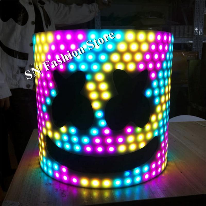 EC47 Ballroom dance led costumes RGB light dj helmet men robot stage show wear catwalk performance clothe bar party colorful hat